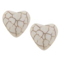 Синтетическая бирюза кабошон, Сердце, плоской задней панелью, белый, 16x6mm, 100ПК/сумка, продается сумка