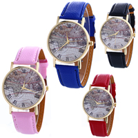 Unisex Wrist Watch, PU, with Glass & Zinc Alloy, plated, map design & adjustable, more colors for choice, nickel, lead & cadmium free, 40x5mm, Length:Approx 9.4 Inch, Sold By PC