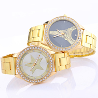Women Wrist Watch, Zinc Alloy, with Glass, gold color plated, different designs for choice & for woman & with rhinestone, nickel, lead & cadmium free, 34x7mm, Length:Approx 9.4 Inch, Sold By PC