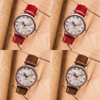 Unisex Wrist Watch, Cowhide, with Glass & Zinc Alloy, plated, more colors for choice, Length:Approx 9.4 Inch, 3PCs/Lot, Sold By Lot
