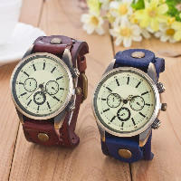 Unisex Wrist Watch, Cowhide, with Glass & Zinc Alloy, plated, more colors for choice, Length:Approx 9.4 Inch, 5PCs/Lot, Sold By Lot