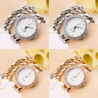 Women Watch Bracelet, Zinc Alloy, with Glass, plated, for woman & with rhinestone & 2-strand, more colors for choice, Length:Approx 15 Inch, 2Strands/Lot, Sold By Lot