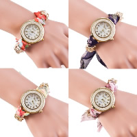 Women Wrist Watch, Zinc Alloy, with Ribbon & Glass, plated, for woman, more colors for choice, Length:Approx 9.4 Inch, 5Strands/Lot, Sold By Lot