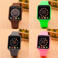 Unisex Wrist Watch, Silicone, with Plastic, zinc alloy pin buckle, platinum color plated, LED, more colors for choice, Length:Approx 9.4 Inch, 5PCs/Lot, Sold By Lot