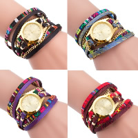 Women Watch Bracelet, Nylon, with PU & Glass & Zinc Alloy, plated, for woman & 3-strand, more colors for choice, Length:Approx 22.4 Inch, 5Strands/Lot, Sold By Lot