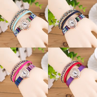 Women Watch Bracelet, PU, with Nylon & Glass & Zinc Alloy, plated, for woman & 3-strand & with rhinestone, more colors for choice, Length:Approx 9.4 Inch, 5Strands/Lot, Sold By Lot