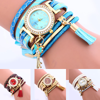 Wrap Watch, PU, with Velveteen Cord & Glass & Zinc Alloy, plated, for woman & enamel & with rhinestone & 2-strand, more colors for choice, nickel, lead & cadmium free, 22x5mm, Sold Per Approx 12.5 Inch Strand