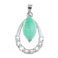 Natural Jade Pendants Brass with Dyed Jade Teardrop platinum color plated with rhinestone nickel lead   cadmium free 16.50x26x7.50mm Hole:Approx 3.5x4mm