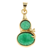 Natural Aventurine Pendants, Brass, with Green Aventurine, Calabash, gold color plated, nickel, lead & cadmium free, 12x25x4.50mm, Hole:Approx 3.5x4mm, Sold By PC