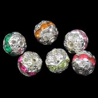Ажурные бусины, Железо, Круглая, плакирован серебром, со стразами & отверстие, Много цветов для выбора, не содержит свинец и кадмий, 8mm, отверстие:Приблизительно 1mm, 100ПК/сумка, продается сумка