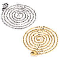 Stainless Steel Chain Necklace plated Unisex   oval chain 2mm Length:Approx 23.5 Inch 5Strands/Bag