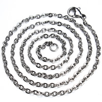 Stainless Steel Chain Necklace Unisex   oval chain original color 2mm Length:Approx 17.5 Inch 10Strands/Bag