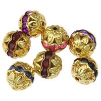 Ажурные бусины, Железо, плакирован золотом, со стразами, Много цветов для выбора, не содержит свинец и кадмий, 10mm, отверстие:Приблизительно 1.5mm, 100ПК/сумка, продается сумка