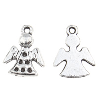 Zinc Alloy Pendant Rhinestone Setting Angel antique silver color plated lead   cadmium free 11x15x2mm Hole:Approx 1mm Inner Diameter:Approx 1mm 100G/Bag