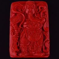 Zawieszki Cinnabar, Cynober, Guan Gong, Rzeźbione, 52x36x10mm, otwór:około 3mm, sprzedane przez PC