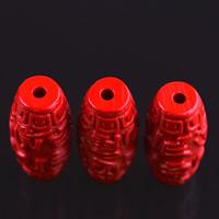 Киноварь бусы, Цилиндрическая форма, резной, разный размер для выбора, отверстие:Приблизительно 3mm, 10ПК/сумка, продается сумка