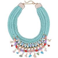 Мода себе ожерелье, Нейлоновый шнурок, с Кристаллы & Стеклянный бисер & цинковый сплав, с 3.3lnch наполнитель цепи, плакирован золотом, Женский & граненый, не содержит никель, свинец, 80mm, Продан через Приблизительно 18.9 дюймовый Strand