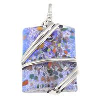 Silver Foil Lampwork Pendants with Zinc Alloy Rectangle handmade gold sand 35x66x14mm Hole:Approx 8x9mm