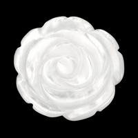 Белая ракушка кабошон, Форма цветка, натуральный, гравированный & плоской задней панелью, 30x4mm, 10ПК/Лот, продается Лот