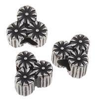 Stal nierdzewna 316 koralik European, Kwiat, bez gwintu & przyczerniony, 12x11.50x8mm, otwór:około 5mm, sprzedane przez PC