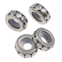 RVS European Beads, 316 Roestvrij staal, Rondelle, zwart maken, 3x9mm, Gat:Ca 2.5mm, Verkocht door PC