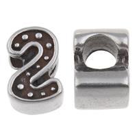 316 Roestvrij staal European Kraal, Nummer 2, zonder troll & zwart maken, 7x11x7.50mm, Gat:Ca 4.5mm, Verkocht door PC