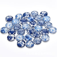 Кабошоны из стекла, Стеклянный, Плоская круглая форма, синий и белый фарфор & ювелирные изделия драгоценный камень раз & смешанная картина & плоской задней панелью & Термоаппликации, 12mm, 30ПК/сумка, продается сумка