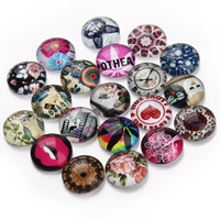 Кабошоны из стекла, Стеклянный, Плоская круглая форма, ювелирные изделия драгоценный камень раз & смешанная картина & плоской задней панелью & Термоаппликации, 12mm, 20ПК/сумка, продается сумка