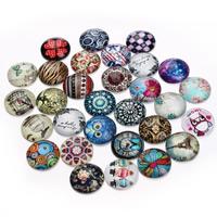Кабошоны из стекла, Стеклянный, Плоская круглая форма, ювелирные изделия драгоценный камень раз & смешанная картина & плоской задней панелью & Термоаппликации, 20mm, 20ПК/сумка, продается сумка