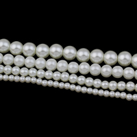 Glass Pearl Beads, Round, different size for choice, white, Hole:Approx 1mm, Length:Approx 31.5 Inch, Sold By Bag