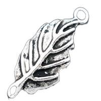 Łącznika ze stopu cynku liści, Stop cynku, Liść, Platerowane kolorem starego srebra, kółko1/1, bez zawartości ołowiu i kadmu, 28x12mm, otwór:około 1.8mm, 30komputery/torba, sprzedane przez torba