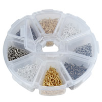 Iron Peg Bail, with Plastic Box, Flower, plated, transparent & 8 cells, mixed colors, lead & cadmium free, 5x12mm, Hole:Approx 1.5mm, Approx 800PCs/Box, Sold By Box