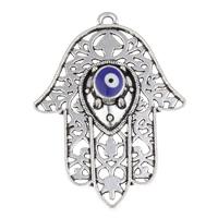 Evil Eye Pendants, Zinc Alloy, Evil Eye Hamsa, antique silver color plated, evil eye pattern & enamel, lead & cadmium free, 43x61x6mm, Hole:Approx 2mm, Sold By PC