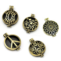 Brass Locket Pendants with Crystal Flat Round antique bronze color plated different styles for choice   faceted   hollow lead   cadmium free 33x44mm Hole:Approx 1-2mm 20PCs/Bag