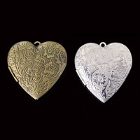 Brass Locket Pendants Heart plated lead   cadmium free 42x40mm Hole:Approx 1-2mm 20PCs/Bag