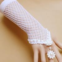 Свадебный браслет кольцо, Хлопок, с Стеклянный жемчуг & канифоль & цинковый сплав, с 2.7lnch наполнитель цепи, плакирован золотом, Для Bridal & регулируемый, не содержит никель, свинец, размер:6, длина:Приблизительно 9 дюймовый, продается указан