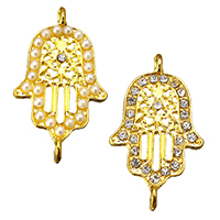 Hamsa Zinc Alloy Connector, gold color plated, Islamic jewelry & different materials for choice & 1/1 loop & hollow, nickel, lead & cadmium free, 23x40.50x4mm, Hole:Approx 3mm, 100PCs/Lot, Sold By Lot