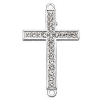 Krzyż złącze ze stopów cynku, Stop cynku, Platerowane w kolorze srebra, z kamieniem & kółko1/1, bez zawartości niklu, ołowiu i kadmu, 25x42.50x2mm, otwór:około 2mm, 100komputery/wiele, sprzedane przez wiele