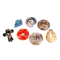 Fashion Lampwork Pendants, handmade, mixed, 18x44x8mm-50x13mm, Hole:Approx 4-10mm, 12PCs/Box, Sold By Box