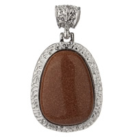 Natural Goldstone Pendants, Zinc Alloy, with Goldstone, platinum color plated, lead & cadmium free, 67x37mm, Hole:Approx 5mm, Sold By PC