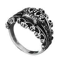 Men Finger Ring, Stainless Steel, Crown, micro pave cubic zirconia & for man & hollow & blacken, 21mm, US Ring Size:14, 5PCs/Lot, Sold By Lot