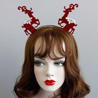 Резинки для волос, Войлок, с Кружево & Железо, Рождественские олени, Рождественские украшения, красный, не содержит никель, свинец, 100mm, продается PC