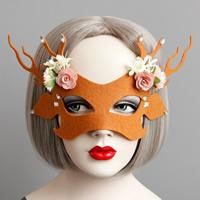 Fashion Party Mask, Войлок, с Закручивать шелк & Сатиновая лента & канифоль, Рождественские украшения & граненый, красно-оранжевый, 52mm, 15ПК/Лот, продается Лот