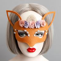 Fashion Party Mask, Войлок, с Закручивать шелк & Кружево & Сатиновая лента & канифоль, Хэллоуин ювелирные изделия & граненый, красно-оранжевый, 135mm, 15ПК/Лот, продается Лот