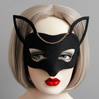 Fashion Party Mask, Войлок, с железный цепи & Кружево & Сатиновая лента, плакирован золотом, Хэллоуин ювелирные изделия, черный, не содержит никель, свинец, 63mm, 20ПК/Лот, продается Лот