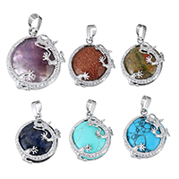 Gemstone Pendants Jewelry with Brass Flat Round platinum color plated natural   different materials for choice nickel lead   cadmium free 24.50x27.50x10mm Hole:Approx 5x7mm