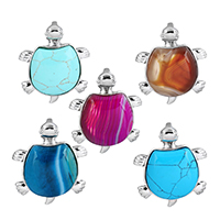 Gemstone Pendants Jewelry with Brass Turtle platinum color plated natural   different materials for choice nickel lead   cadmium free 33.50x42x9mm Hole:Approx 4x7mm