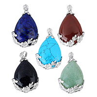 Gemstone Pendants Jewelry with Brass Teardrop platinum color plated natural   different materials for choice nickel lead   cadmium free 26x38x9mm Hole:Approx 4.5x6mm