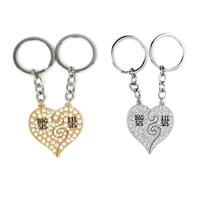 Zinc Alloy Puzzle Key Chain, Heart, plated, with letter pattern & enamel & with rhinestone, more colors for choice, lead & cadmium free, 37x41mm, Sold By Pair