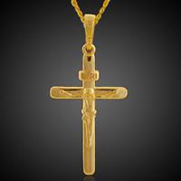 Krzyż wisiorki mosiądz, Krucyfiks krzyż, Pozłacane 18K złotem, Chrześcijanin Biżuteria & z listu wzór, bez zawartości ołowiu i kadmu, 18x38mm, otwór:około 3-5mm, 6komputery/torba, sprzedane przez torba